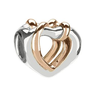 Chamilia Sterling Silver & 14Ct Rose Gold Hearts Charm - Product number 1988565
