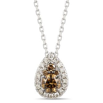 Le Vian 14ct Vanilla Gold Chocolate Diamond Pear Pendant - Product number 1990462