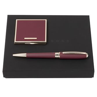 Hugo Boss Ladies' Burgundy Ballpoint Pen and Mirror Gift Set - Product number 2002825