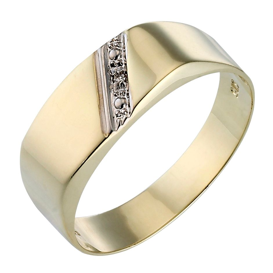 9ct Gold Diamond Signet Ring - Product number 2006316