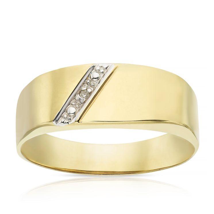 9ct Gold Diamond set Oblong Signet Ring