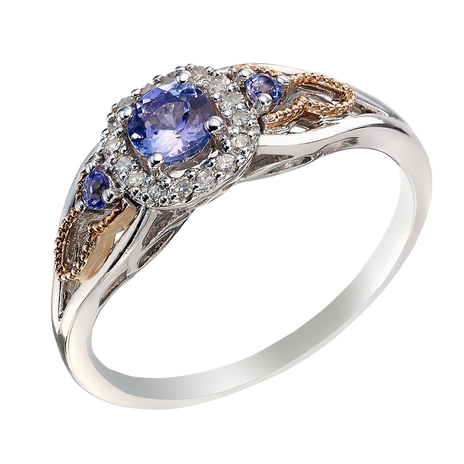 Sterling Silver & 9ct Rose Gold Tanzanite & Diamond Ring - Product number 2023385