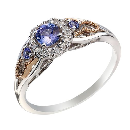 Silver & 9ct Rose Gold Diamond and Tanzanite Cluster Ring - Product number 2023385