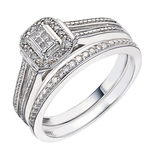 9ct White Gold 0.12ct Diamond Perfect Fit Bridal Set - Product number 2025922