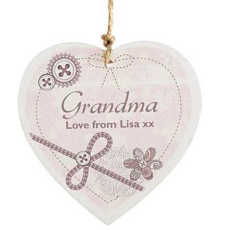 Personalised Wooden Heart Decoration - Lace & Flowers Design - Product number 2032384