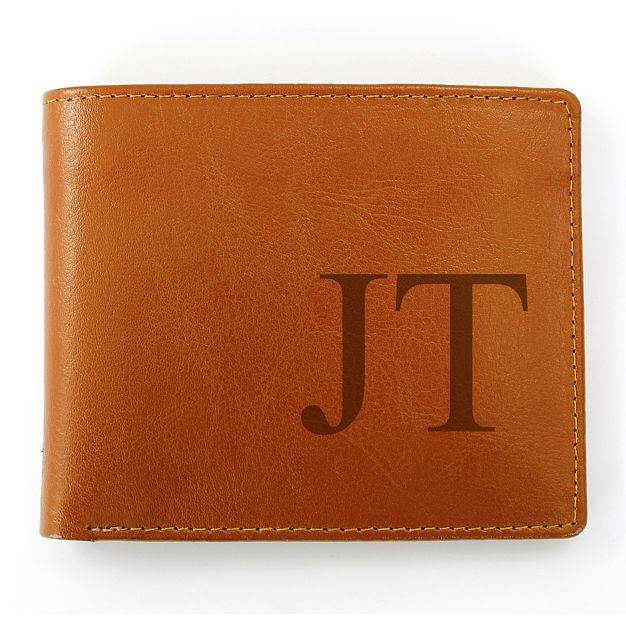 Personalised Large Initials Brown Leather Wallet - Product number 2034549