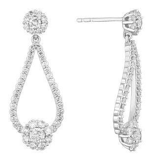 9ct White Gold 1ct Diamond Halo Open Drop Earrings - Product number 2049279