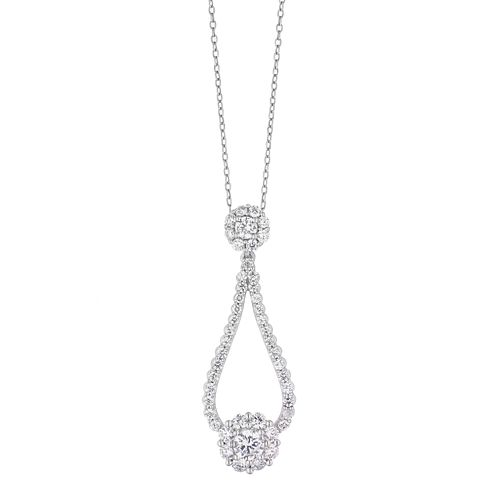 9ct White Gold 1ct Diamond Halo Open Drop Pendant - Product number 2049287
