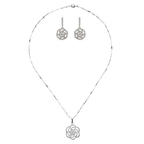 Mikey Crystal Flower Earring And Pendant Set - Product number 2049767