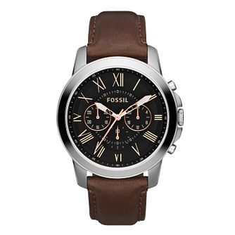 Fossil Grant men's black dial brown leather strap watch - Product number 2051060