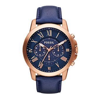 Fossil Grant men's chronograph blue leather strap watch - Product number 2051125