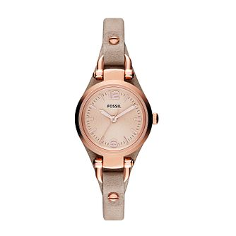 Fossil Georgia Lades' Rose Gold-Tone Leather Strap Watch - Product number 2051524