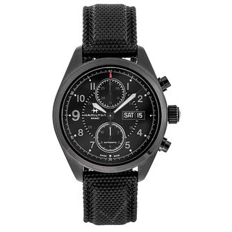 Hamilton Khaki Field Auto Chrono Men's Black Strap Watch - Product number 2051990