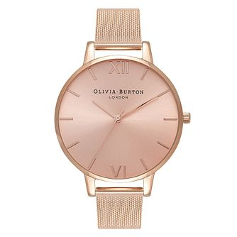 Olivia Burton Rose Sunray Dial Rose Gold Tone Bracelet Watch - Product number 2052946