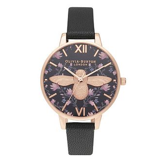 Olivia Burton Meant to Bee Ladies' Black Leather Strap Watch - Product number 2052989
