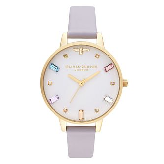 Olivia Burton Rainbow Bee Purple Leather Strap Watch - Product number 2053012