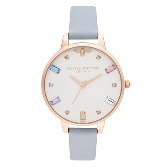 Olivia Burton Rainbow Bee Blue Leather Strap Watch - Product number 2053187