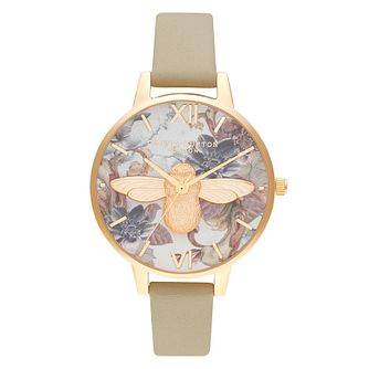 Olivia Burton Marble Floral Tan Leather Strap Watch - Product number 2053284