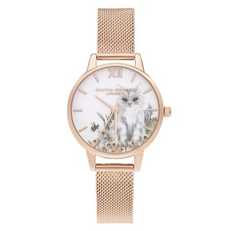 Olivia Burton Illustrated Cat Rose Gold Tone Bracelet Watch - Product number 2056879