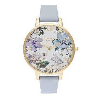 Olivia Burton Bejewelled Floral Blue Leather Strap Watch - Product number 2056895