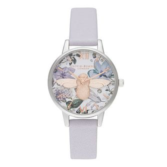 Olivia Burton Bejewelled Floral Violet Leather Strap Watch - Product number 2056909
