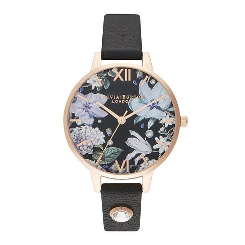 Olivia Burton Bejewelled Floral Black Leather Strap Watch - Product number 2059959