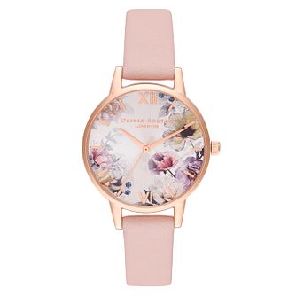 Olivia Burton Sunlight Floral Pink Leather Strap Watch - Product number 2060035