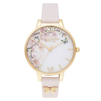 Olivia Burton Pretty Blossom Pink Leather Strap Watch - Product number 2060094