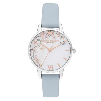 Olivia Burton Pretty Blossom Blue Leather Strap Watch - Product number 2060124