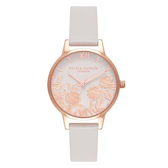 Olivia Burton Lace Detail Pink Leather Strap Watch - Product number 2060167