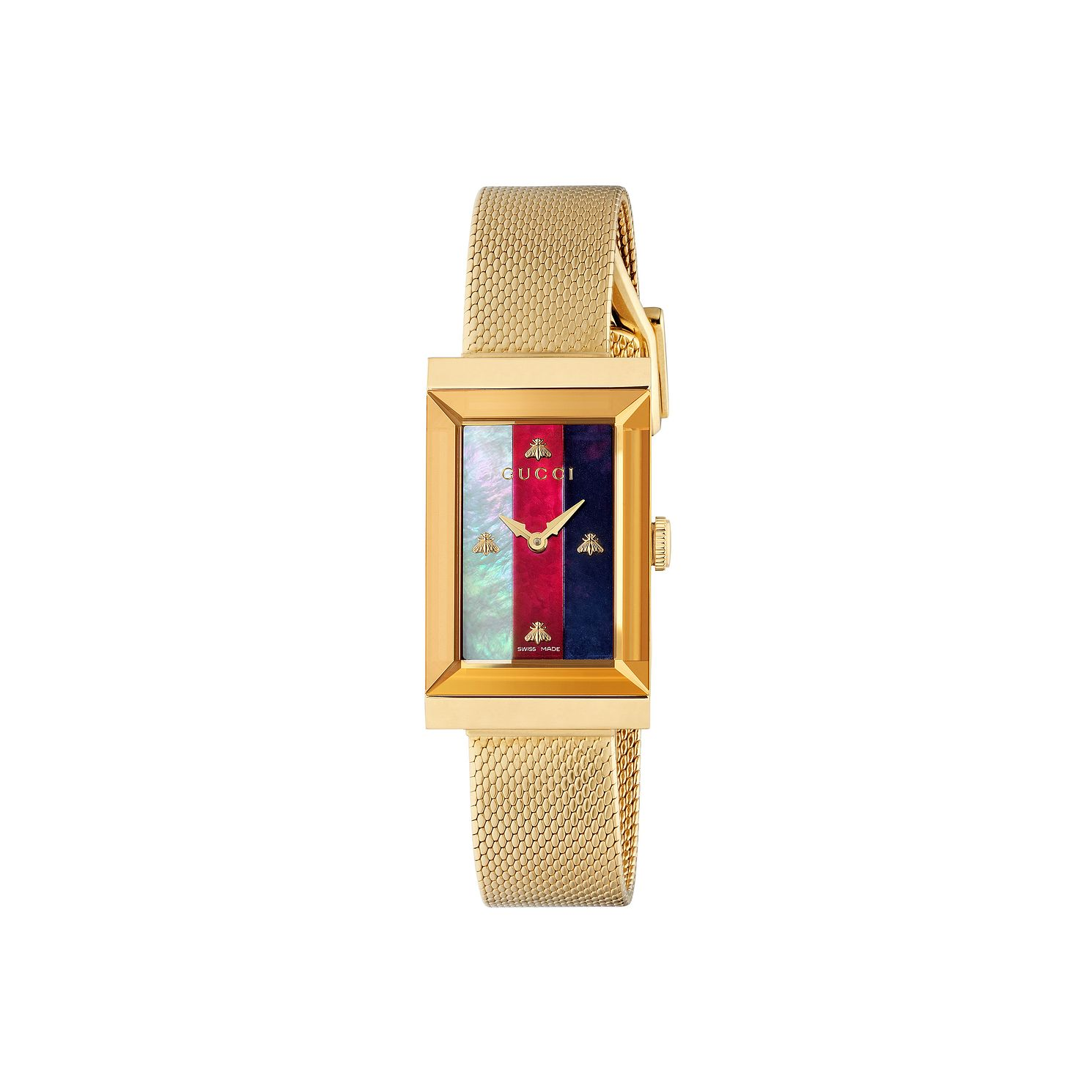 Gucci G-Frame Yellow Gold Plated Mesh Bracelet Watch - Product number 2065762
