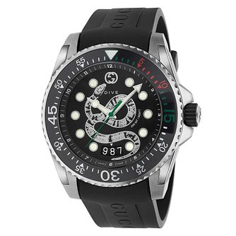Gucci Dive Men's Snake Dial Black Rubber Strap Watch - Product number 2065797