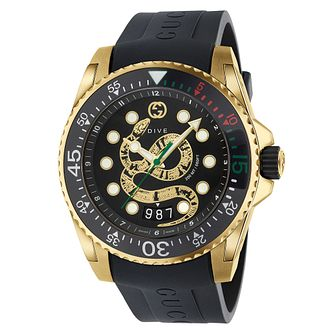 Gucci Dive Snake Dial Black Rubber Strap Watch - Product number 2065819