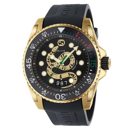 Gucci Dive Men's Snake Dial Black Rubber Strap Watch - Product number 2065819