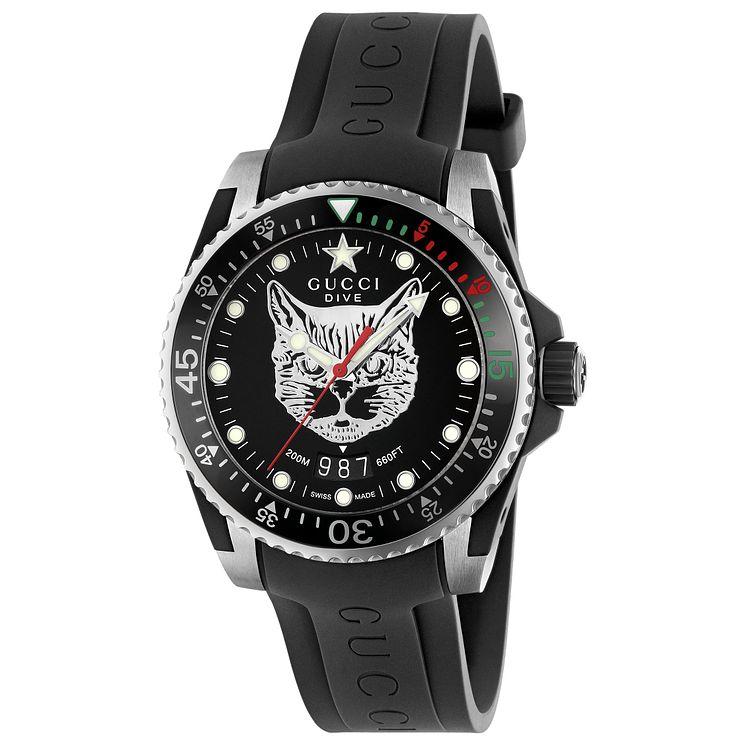 b79fa9b6ced Gucci Dive Men s Cat Dial Black Rubber Strap Watch