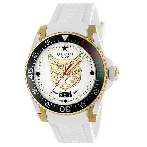 Gucci Dive Men's Cat Dial White Rubber Strap Watch - Product number 2065835