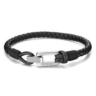 Tommy Hilfiger Men's Braided Black Leather Bracelet - Product number 2080192