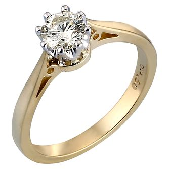 18ct Gold Half Carat Diamond Solitaire Ring - Product number 2080648