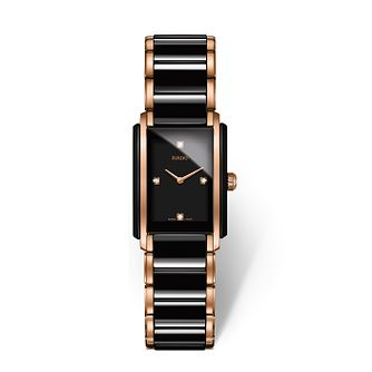 Rado Ladies' Black Ceramic & Rose Gold Tone Bracelet Watch - Product number 2087855