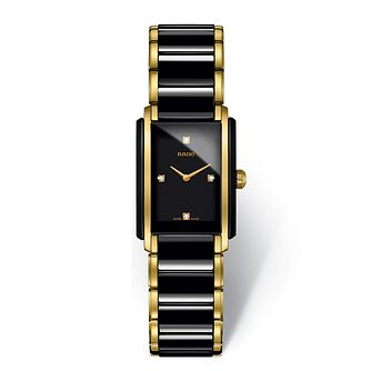 Rado Ladies' Gold Tone & Black Ceramic Bracelet Watch - Product number 2087901