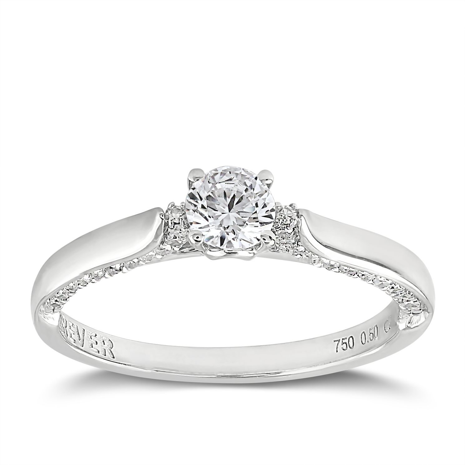 Forever Diamond 18ct White Gold 1/2ct Solitaire Diamond Ring - Product number 2095521