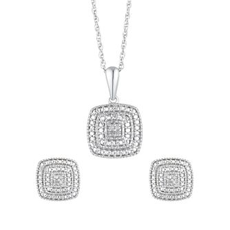 Silver Diamond Square Stud Earrings & Pendant Gift Set - Product number 2147068