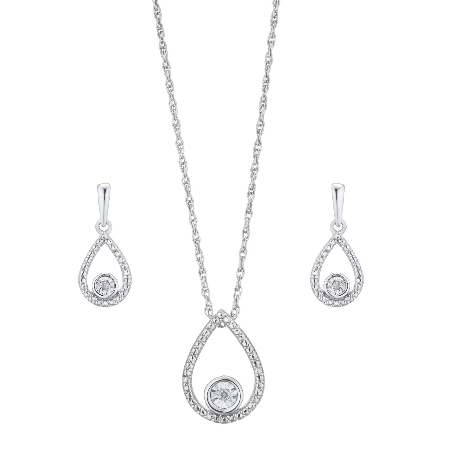 Silver Diamond Pear Necklace & Stud Earrings Gift Set - Product number 2147092