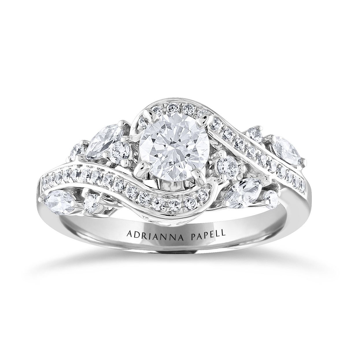Adrianna Papell 14ct White Gold 1.11ct Total Diamond Ring - Product number 2154145