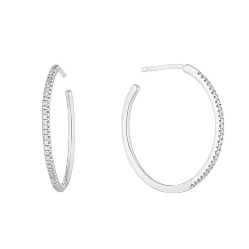 Silver 1/10ct Diamond Skinny Hoop Earrings - Product number 2156857