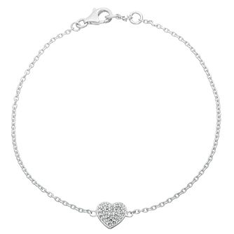 Sterling Silver Cubic Zirconia Single Heart Bracelet - Product number 2158140