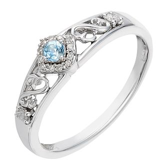Open Hearts By Jane Seymour Silver Diamond & Blue Topaz Ring - Product number 2161575