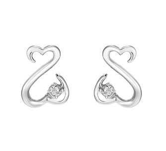Open Hearts By Jane Seymour 9ct White Gold Diamond Earrings - Product number 2162350
