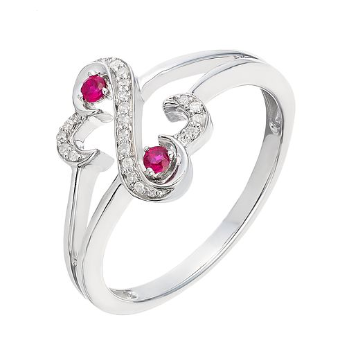 Open Hearts By Jane Seymour Diamond & Ruby Ring - Product number 2163632
