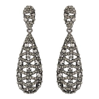 Mikey Pewter Grey Crystal Filigree Drop Earrings - Product number 2166933